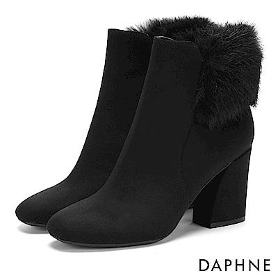 達芙妮DAPHNE 短靴-復古方頭佐優雅毛毛馬蹄跟短靴-黑