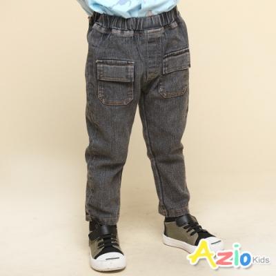 Azio Kids 男童 長褲 前雙蓋袋口袋彈性牛仔長褲(黑)
