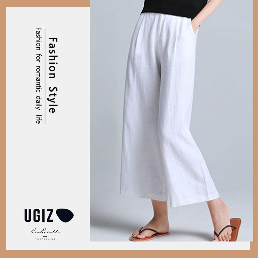 UGIZ-顯瘦不敗款涼爽高腰九分闊腿褲-3色(M-2XL)