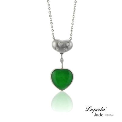 大東山珠寶 天然緬甸老坑玻璃種A貨翡翠 頂級真鑽18K白金項鍊 珍愛