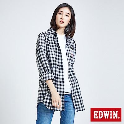 EDWIN 搖滾不死英式格紋襯衫-女-白色
