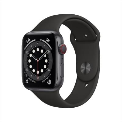 [時時樂]Apple Watch S6 40mm 鋁金屬錶殼配運動錶帶(GPS)-太空灰+黑色錶帶