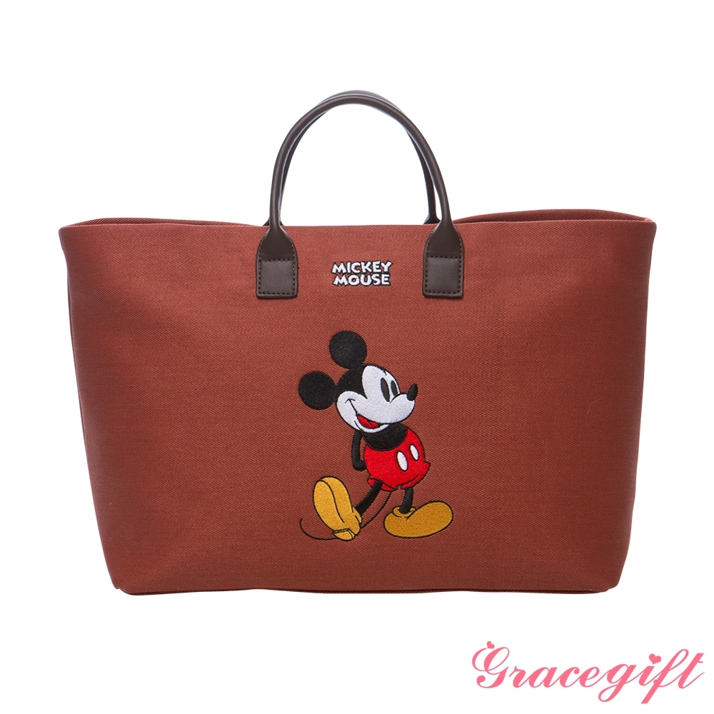 Disney collection by grace gift-唐葳設計迪士尼米奇2WAY帆布包 紅