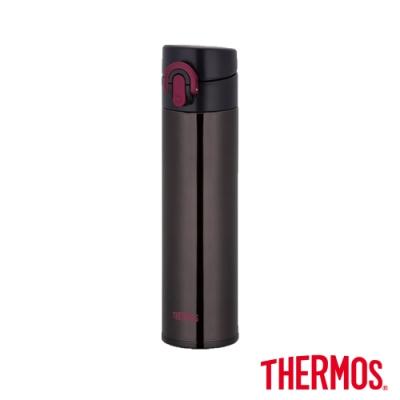 THERMOS膳魔師 超輕量彈蓋 不鏽鋼真空保溫瓶0.4L(JNI-400-BK)