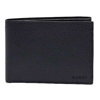 GUCCI 經典品牌烙印荔枝紋牛皮摺疊短夾(黑)