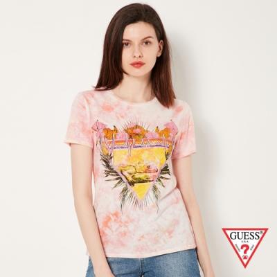 GUESS-女裝-潑墨熱帶雨林短 T-粉 原價1490