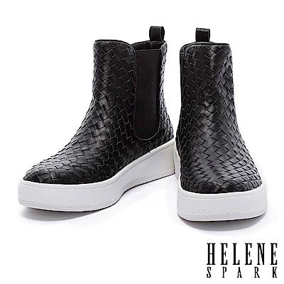 短靴 HELENE SPARK 獨特個性皮革編織厚底短靴-黑