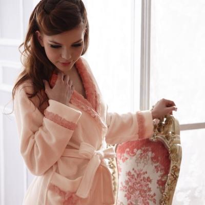 羅絲美睡衣 - 暖暖俏佳人溫暖洋裝睡袍 (粉橘色)