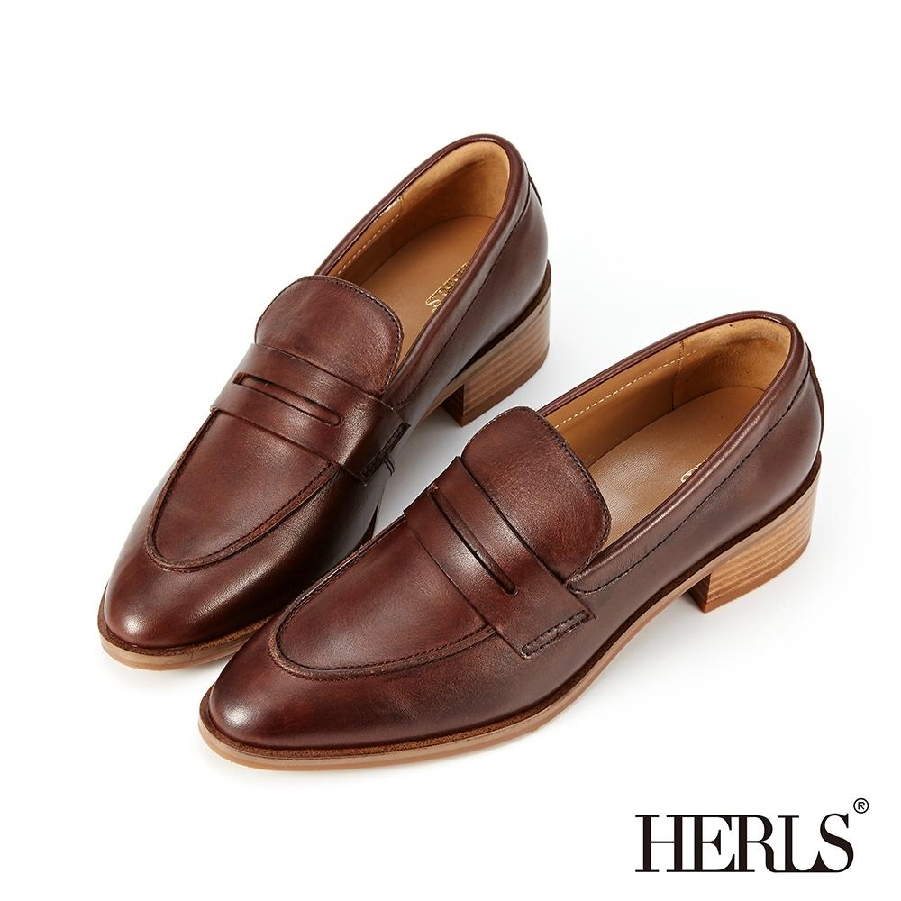 HERLS樂福鞋-全真皮手工刷色尖頭粗跟便士樂福鞋-深棕
