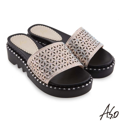 A.S.O時尚流行 夏季輕量幻彩閃色布燙鑽時髦拖鞋-金