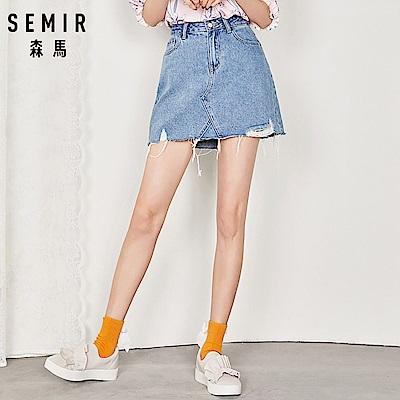 SEMIR-下擺造型刷破抽鬚牛仔A字短裙-女(2色)