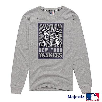 MLB-洋基隊斑馬紋印花薄長T (男)-灰色