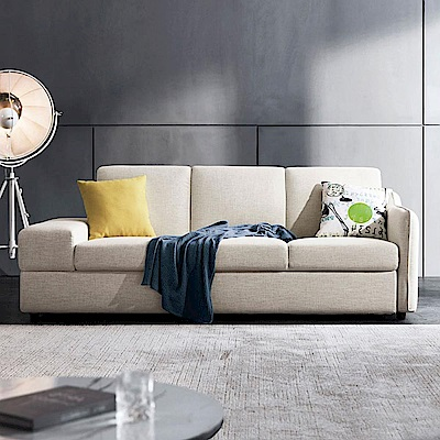 hoi! 簡約現代多功能儲物左三人布沙發床(附抱枕)1004 V2-米白色 (H014259292)