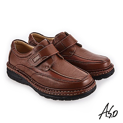 A.S.O 手縫氣墊 高彈力抗壓縮休閒鞋 茶