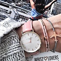Elie Beaumont 英國時尚手錶 牛津系列 白錶盤x粉色皮革錶帶x玫瑰金框38mm