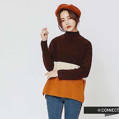 H:CONNECT 韓國品牌 女裝-撞色高領針織上衣-紅
