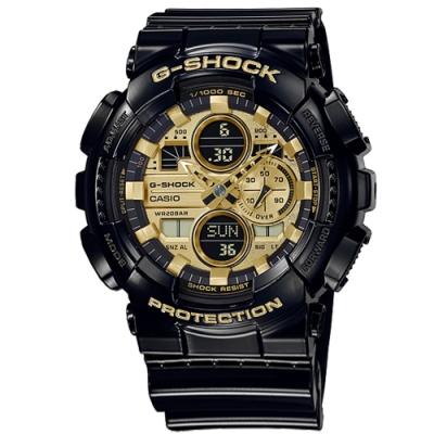 G-SHOCK CASIO 卡西歐 亮黑 雙顯 計時 防水 運動手錶 金x黑 GA-140GB-1A1 51mm