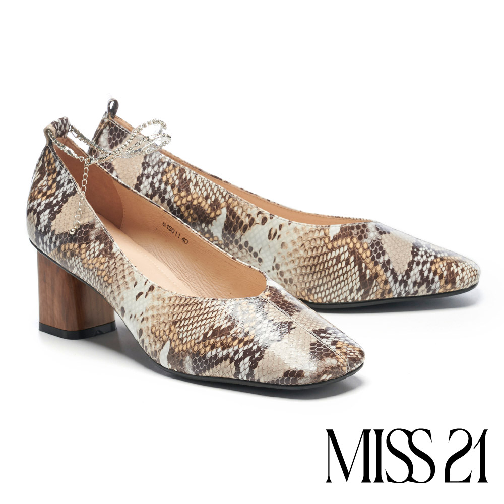 高跟鞋 MISS 21 甜酷少女蛇紋腳鏈方頭高跟鞋-蛇紋