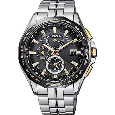 CITIZEN 星辰 光動能電波限量鈦金屬腕錶(AT9095-50E)-金時標/42mm