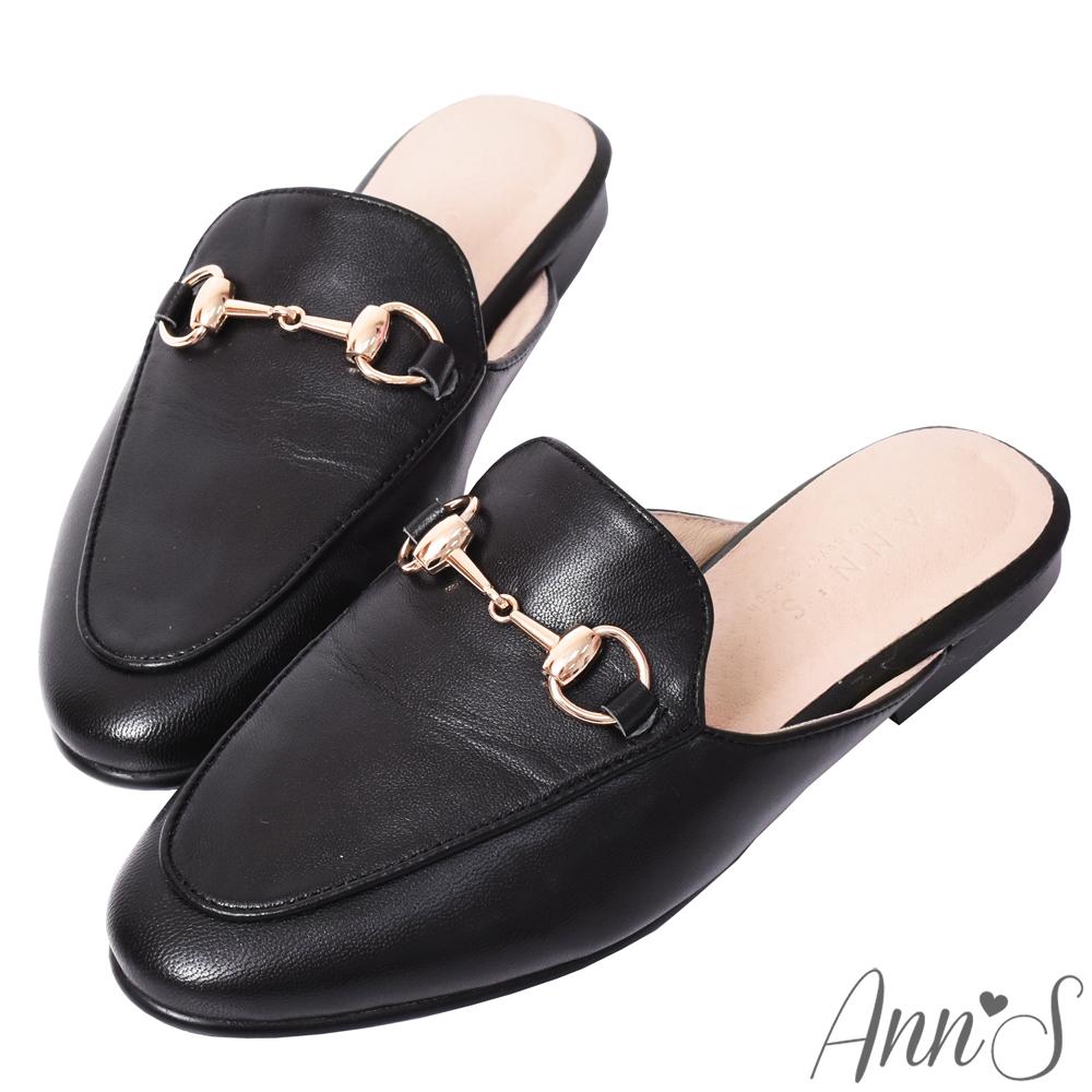 Ann'S質感不破內裡真小羊皮金釦穆勒鞋-黑(版型偏小)