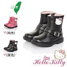 HelloKitty童鞋 傳統手工鞋格紋超纖皮革防滑童靴-黑.桃