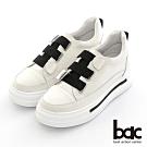 【bac】撞色寬版彈力鞋帶厚底休閒鞋-白