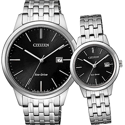 CITIZEN 星辰 ECO-Drive 光動能時尚對錶-黑x銀/40+27mm