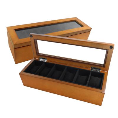 6入手錶收藏盒 配件收納 腕錶收藏盒 實木質感 - 原木色