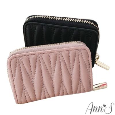 Ann'S柔軟羊皮澎澎抓皺風琴式11卡夾零錢包-2色