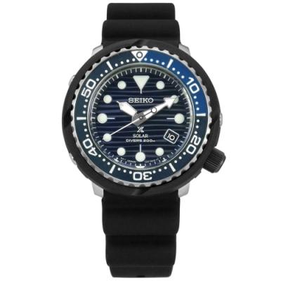 SEIKO 精工 PROSPEX 太陽能 潛水 日期 防水 矽膠手錶-藍x黑/45mm