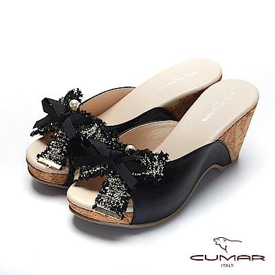 CUMAR普羅旺斯莊園- 軟呢織帶蝴蝶結厚底涼拖鞋-黑