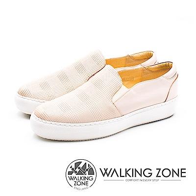 WALKING ZONE (女)格子壓紋直套鬆糕鞋-粉(另有黑)