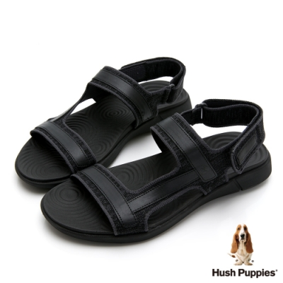 Hush Puppies 人氣輕量魔鬼氈涼鞋-黑色