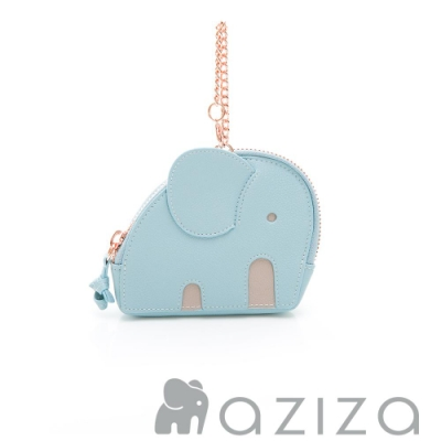 aziza小象造型吊掛零錢包 淺藍