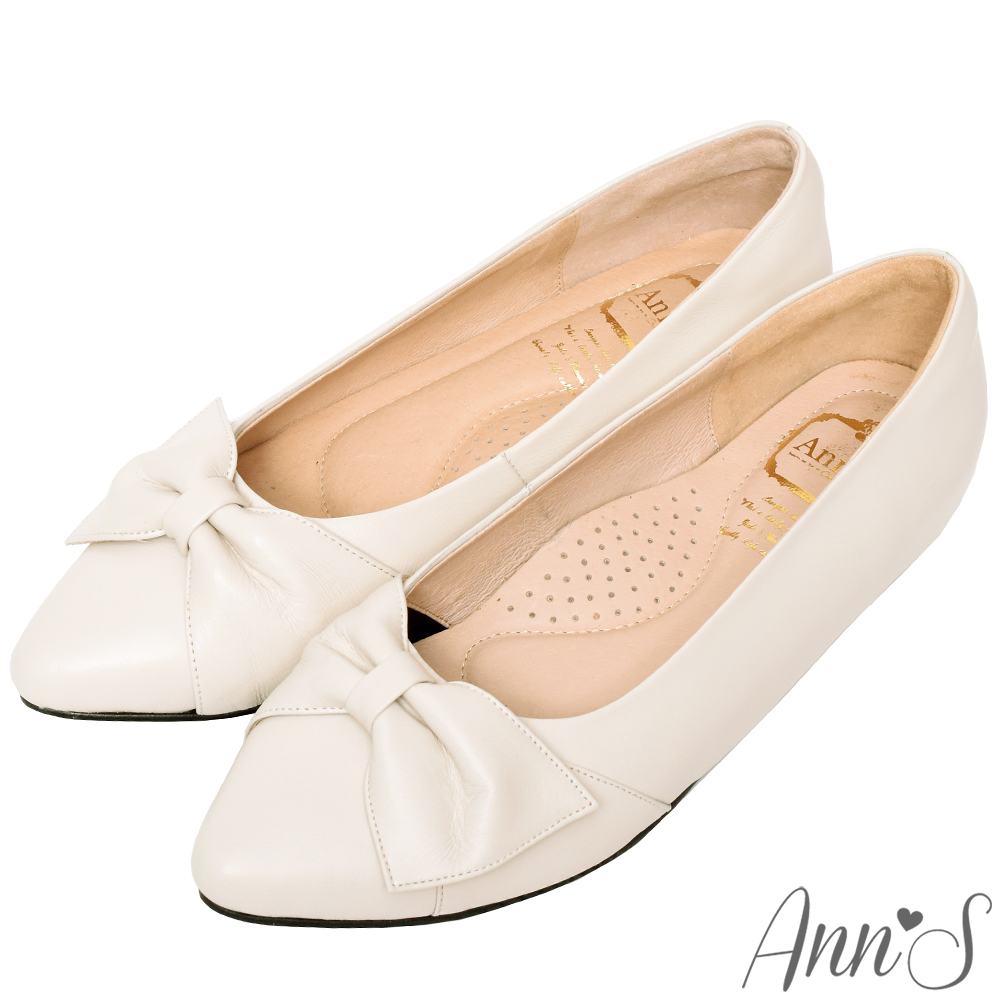 Ann'S拇指外翻救星造型蝴蝶結全真羊皮內增高尖頭鞋-杏(版型偏大)