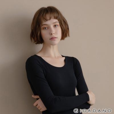 GIORDANO 女裝G-WARMER PLUS+圓領極暖衣 - 02 標誌黑