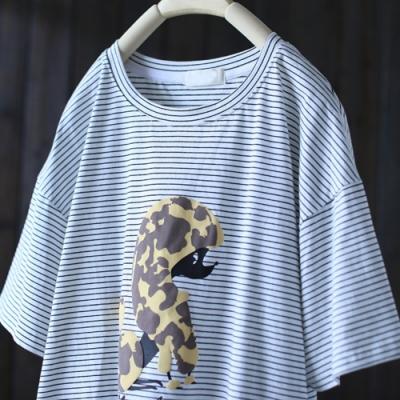 印花條紋短袖t恤寬鬆汗衫上衣-設計所在