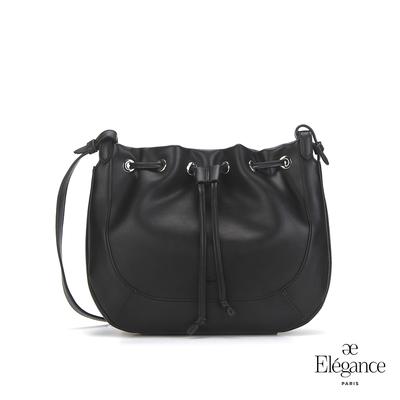 【Elegance】CYNTHIA 束口側背包-黑色