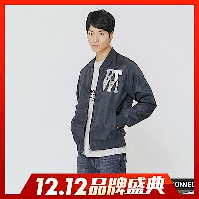 H:CONNECT 韓國品牌 男裝-簡約文字飛行外套-藍