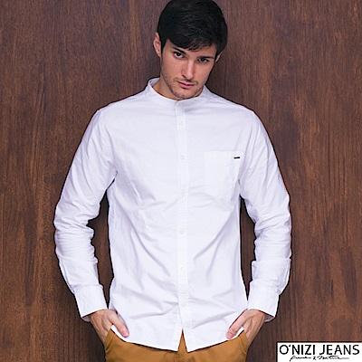 ONIZI立領鬚邊襯衫-男-白