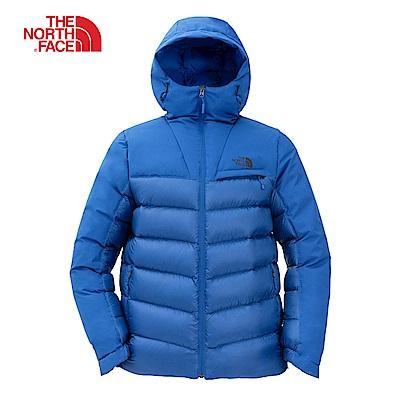 The North Face北面男款藍色保暖防潑水羽絨外套 3KTDWXN