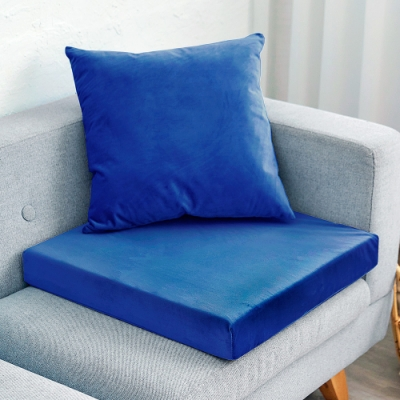 凱蕾絲帝 高支撐記憶聚合加厚絨布坐墊/沙發墊/實木椅墊55x55cm-深藍(一入)