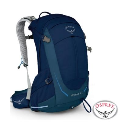 OSPREY 新款 Stratos 24 透氣立體網架健行背包__暗夜藍 R