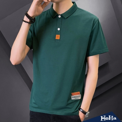 HeHa-Best雙釦標籤布貼短袖POLO衫 三色