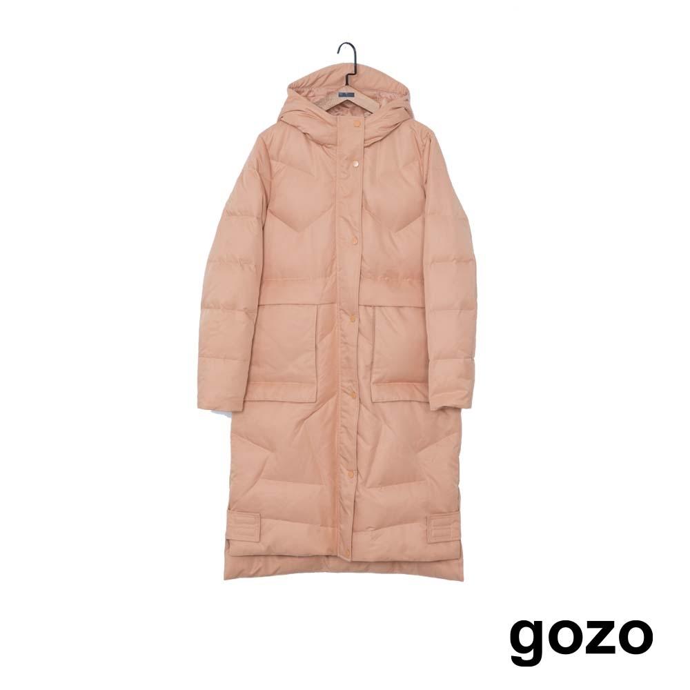 gozo 幾何壓紋大口袋長版羽絨大衣(二色) product image 1