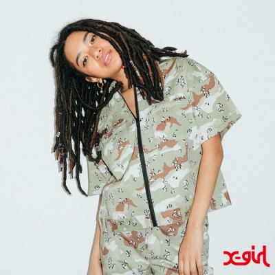 X-girl BOX SILHOUETTE WORK SHIRT短袖襯衫-卡其