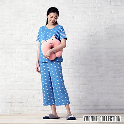 YVONNE豬豬印花八分寬褲-中藍