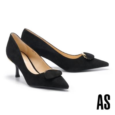 高跟鞋 AS 都會典雅金屬圓釦全羊皮尖頭高跟鞋-黑