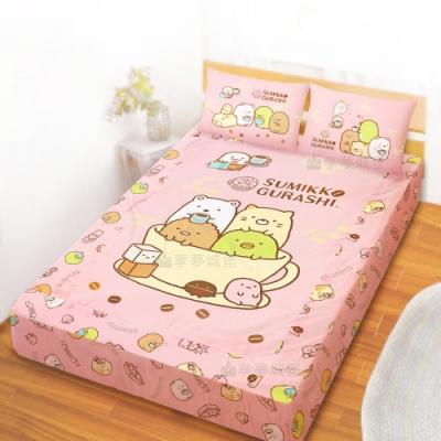 享夢城堡 雙人床包枕套5x6.2三件組-角落小夥伴 咖啡杯-粉.黃