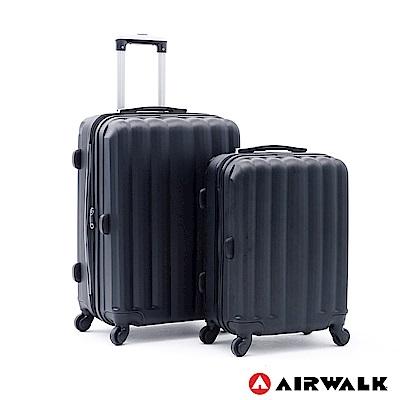 AIRWALK -海岸線系列 BoBo經濟款ABS硬殼拉鍊20+24吋兩件組-黑水黑